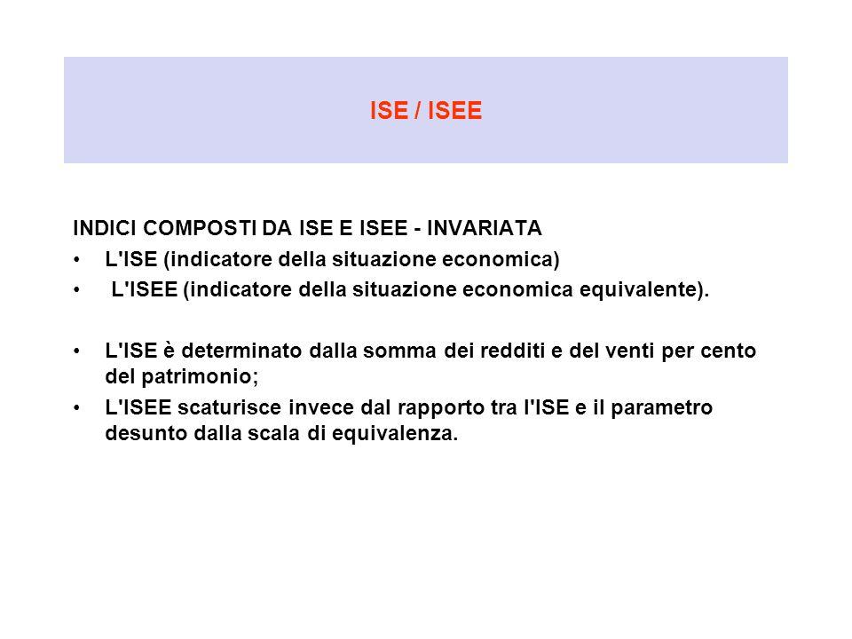 ISE / ISEE INDICI COMPOSTI DA ISE E ISEE - INVARIATA L'ISE (indicatore della situazione economica) L'ISEE (indicatore della situazione economica equiv
