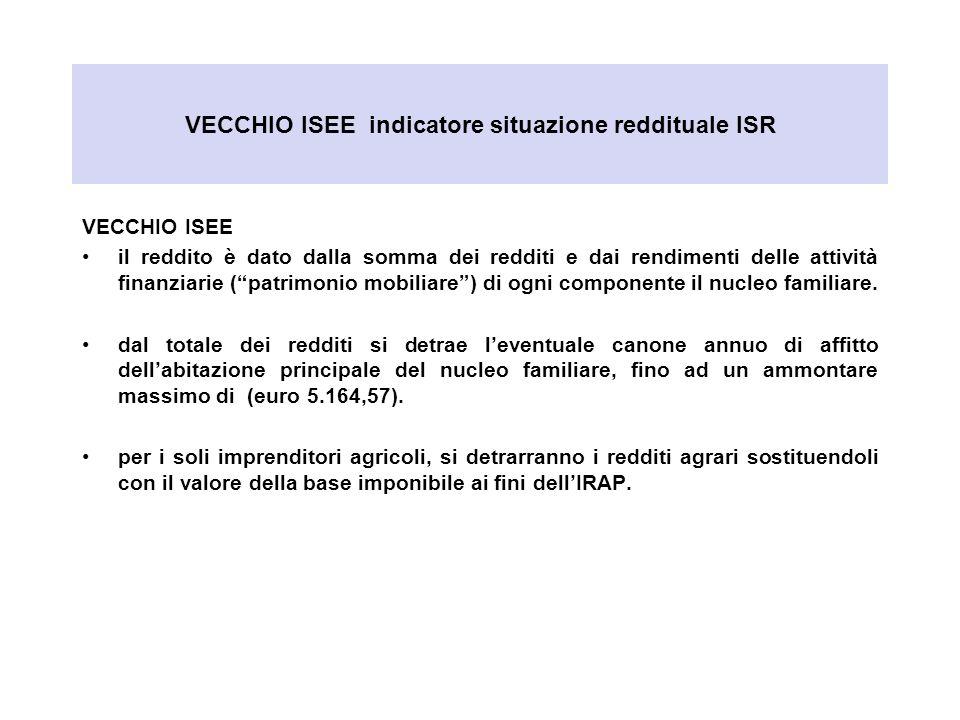 VECCHIO ISEE indicatore situazione reddituale ISR VECCHIO ISEE il reddito è dato dalla somma dei redditi e dai rendimenti delle attività finanziarie (