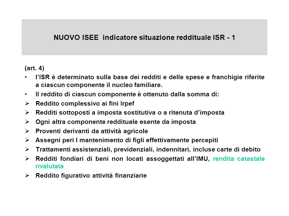 NUOVO ISEE indicatore situazione reddituale ISR - 1 (art.