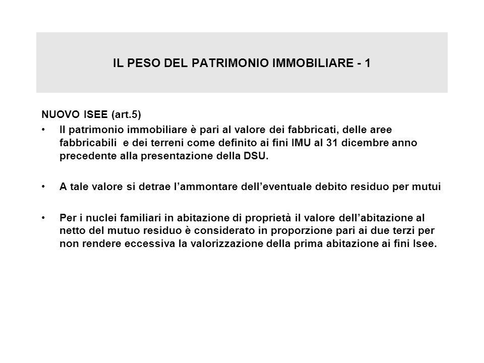 IL PESO DEL PATRIMONIO IMMOBILIARE - 1 NUOVO ISEE (art.5) Il patrimonio immobiliare è pari al valore dei fabbricati, delle aree fabbricabili e dei ter