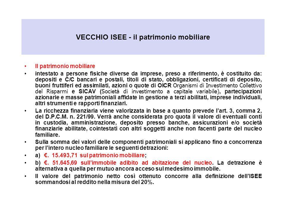 VECCHIO ISEE - il patrimonio mobiliare Il patrimonio mobiliare intestato a persone fisiche diverse da imprese, preso a riferimento, è costituito da: d