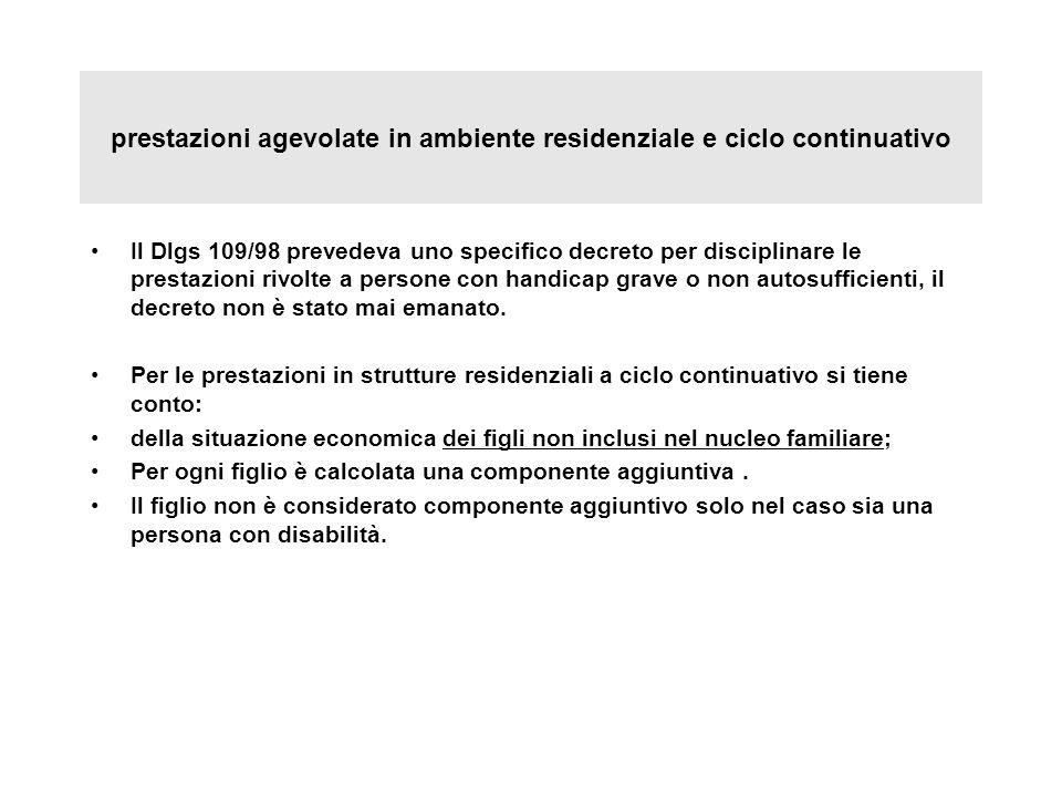 prestazioni agevolate in ambiente residenziale e ciclo continuativo Il Dlgs 109/98 prevedeva uno specifico decreto per disciplinare le prestazioni riv