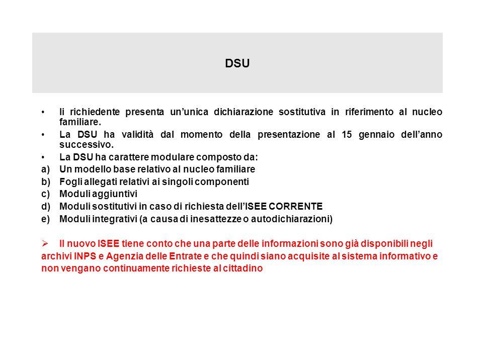 DSU Ii richiedente presenta ununica dichiarazione sostitutiva in riferimento al nucleo familiare. La DSU ha validità dal momento della presentazione a