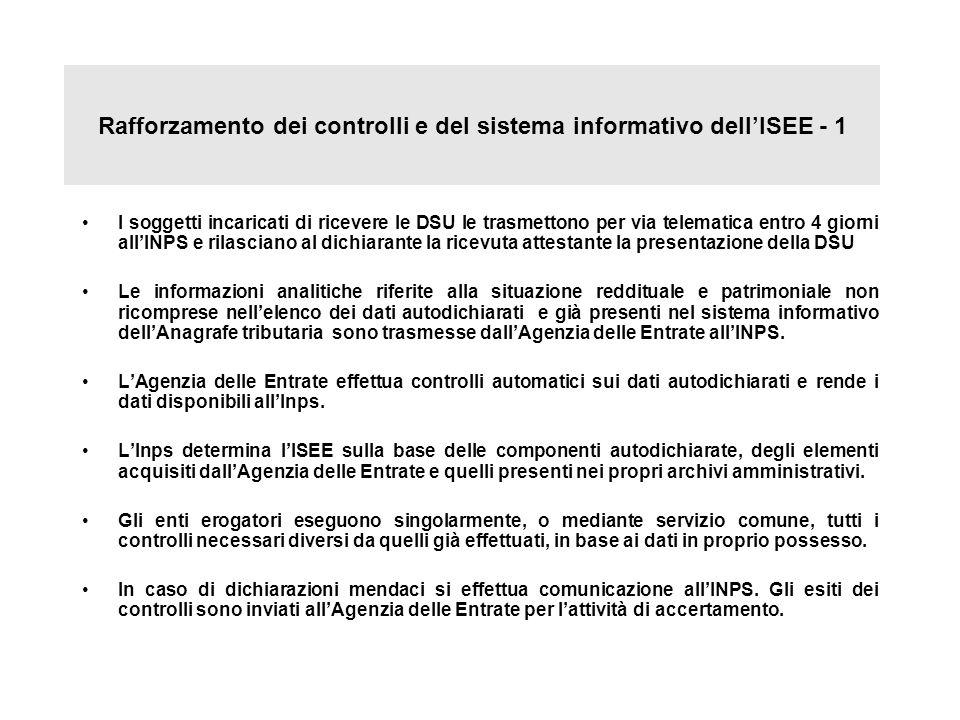 Rafforzamento dei controlli e del sistema informativo dellISEE - 1 I soggetti incaricati di ricevere le DSU le trasmettono per via telematica entro 4
