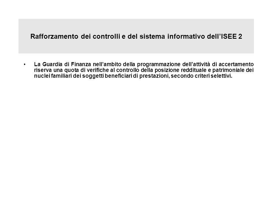 Rafforzamento dei controlli e del sistema informativo dellISEE 2 La Guardia di Finanza nellambito della programmazione dellattività di accertamento ri