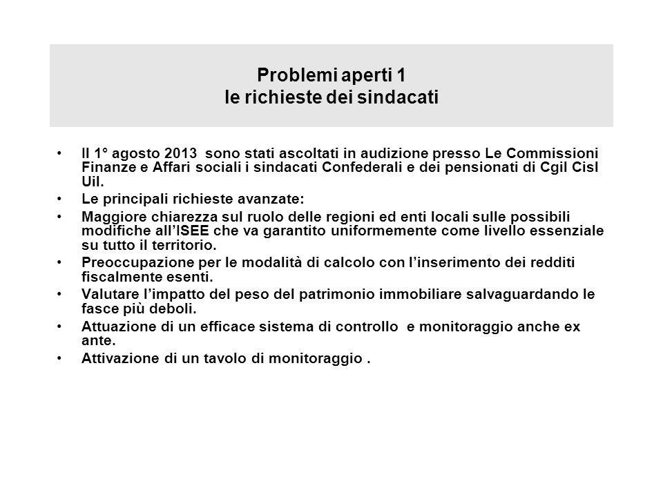 Problemi aperti 1 le richieste dei sindacati Il 1° agosto 2013 sono stati ascoltati in audizione presso Le Commissioni Finanze e Affari sociali i sind