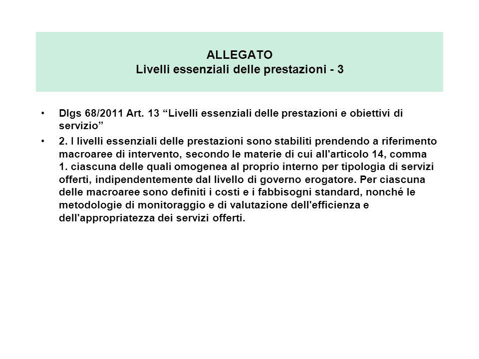 ALLEGATO Livelli essenziali delle prestazioni - 3 Dlgs 68/2011 Art. 13 Livelli essenziali delle prestazioni e obiettivi di servizio 2. I livelli essen