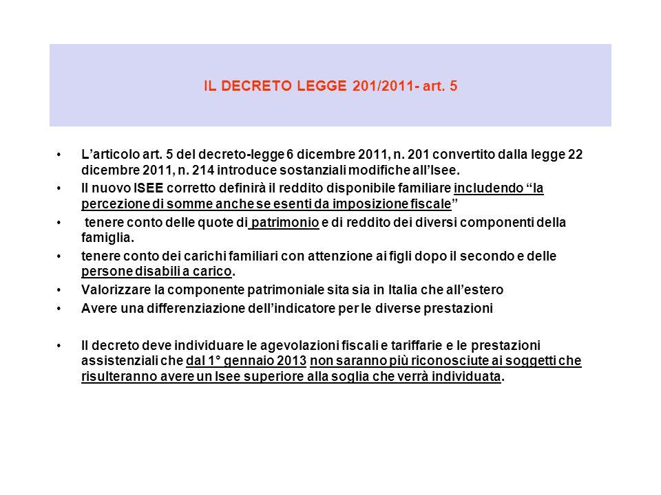IL DECRETO LEGGE 201/2011- art. 5 Larticolo art. 5 del decreto-legge 6 dicembre 2011, n. 201 convertito dalla legge 22 dicembre 2011, n. 214 introduce