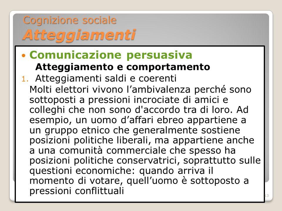 Comunicazione persuasiva Atteggiamento e comportamento 1. Atteggiamenti saldi e coerenti Molti elettori vivono lambivalenza perché sono sottoposti a p