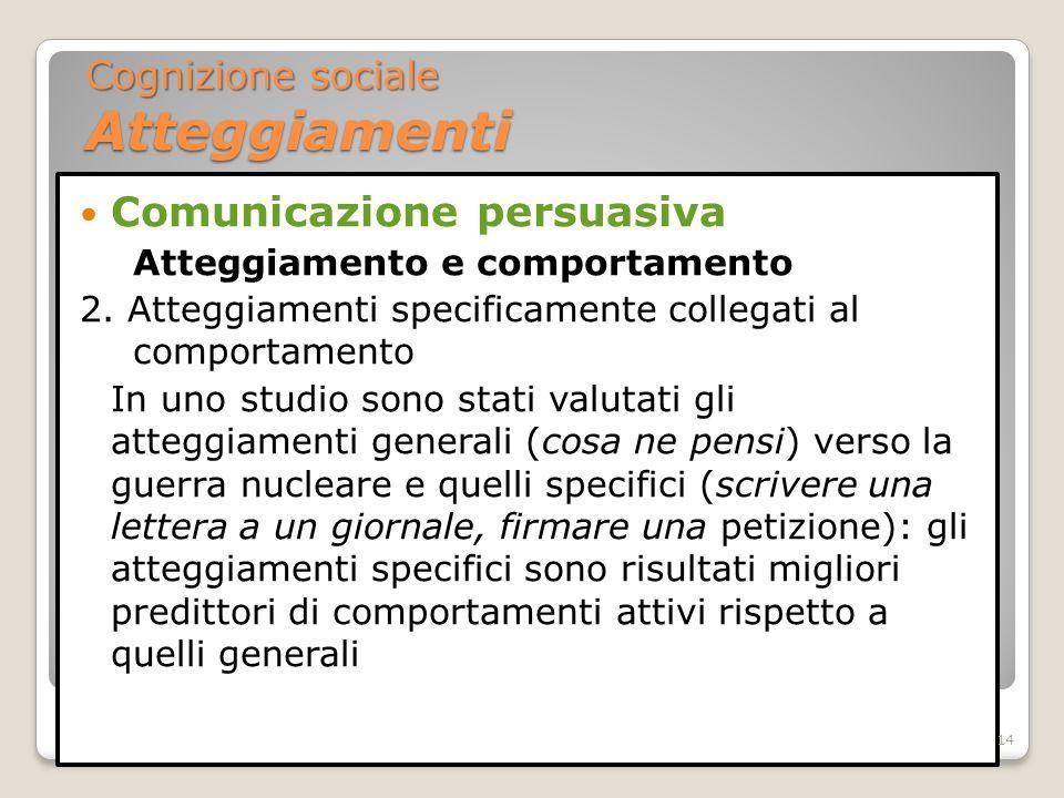 Comunicazione persuasiva Atteggiamento e comportamento 2. Atteggiamenti specificamente collegati al comportamento In uno studio sono stati valutati gl