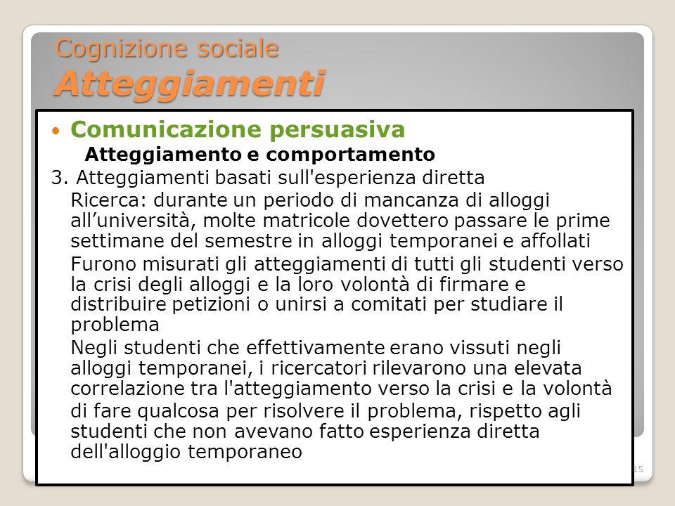 Comunicazione persuasiva Atteggiamento e comportamento 3. Atteggiamenti basati sull'esperienza diretta Ricerca: durante un periodo di mancanza di allo