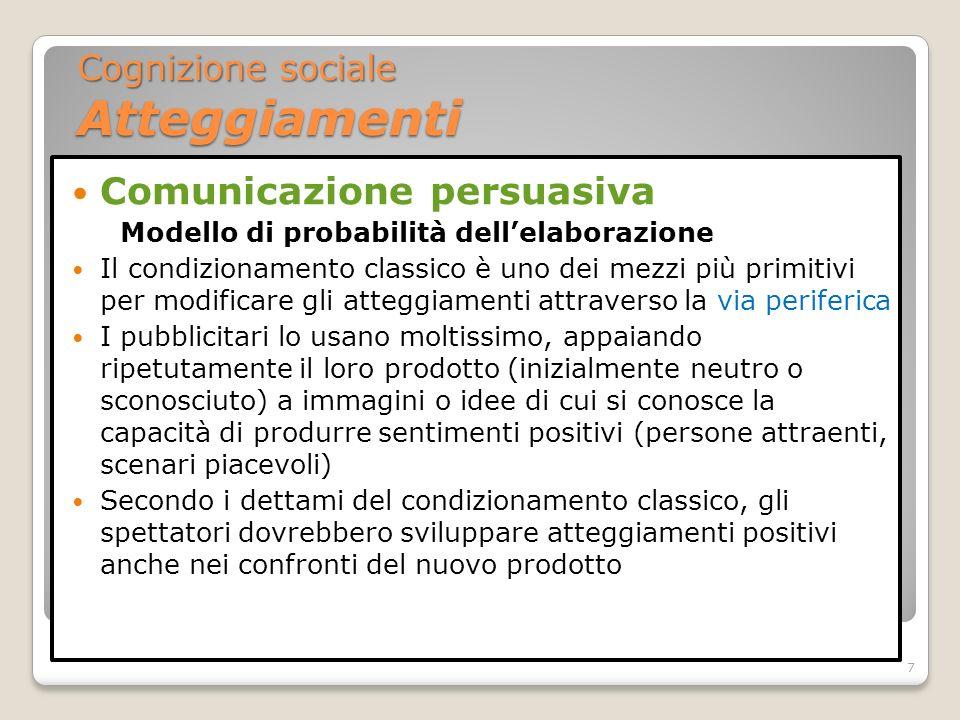 Comunicazione persuasiva Modello di probabilità dellelaborazione Diversi fattori possono influenzare quale sara la via intrapresa, se centrale o periferica a) Coinvolgimento personale.