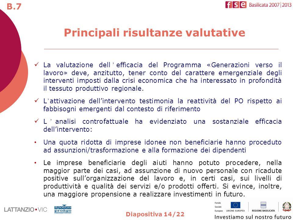 Diapositiva 14/22 La valutazione dellefficacia del Programma «Generazioni verso il lavoro» deve, anzitutto, tener conto del carattere emergenziale degli interventi imposti dalla crisi economica che ha interessato in profondità il tessuto produttivo regionale.