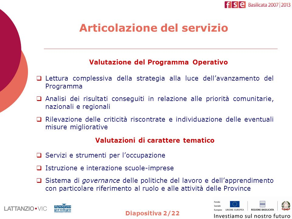 Diapositiva 2/22 Articolazione del servizio Valutazione del Programma Operativo Lettura complessiva della strategia alla luce dellavanzamento del Prog