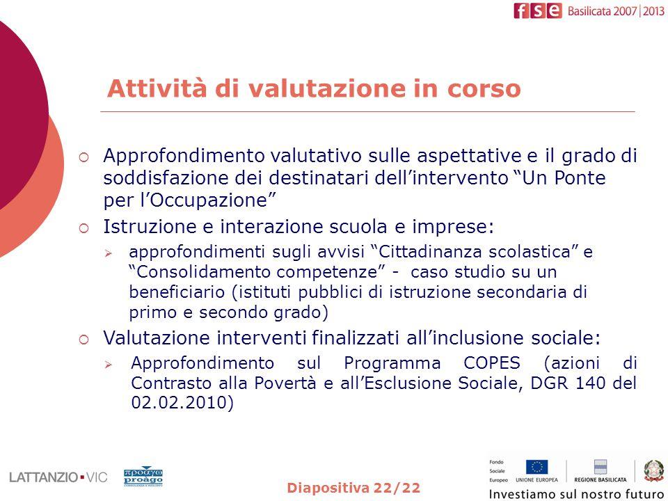 Attività di valutazione in corso Diapositiva 22/22 Approfondimento valutativo sulle aspettative e il grado di soddisfazione dei destinatari dellinterv
