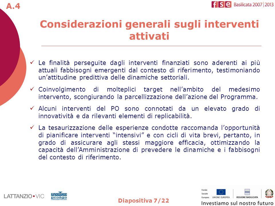 Diapositiva 7/22 Considerazioni generali sugli interventi attivati Le finalità perseguite dagli interventi finanziati sono aderenti ai più attuali fab