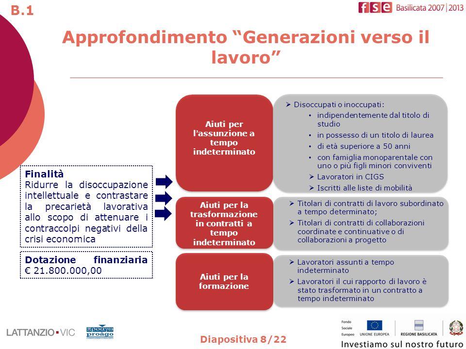 Diapositiva 8/22 Approfondimento Generazioni verso il lavoro Finalità Ridurre la disoccupazione intellettuale e contrastare la precarietà lavorativa a