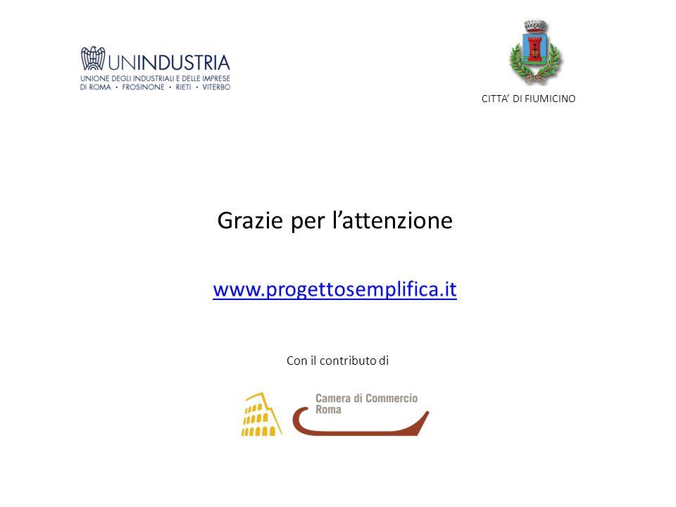 CITTA DI FIUMICINO Con il contributo di www.progettosemplifica.it Grazie per lattenzione