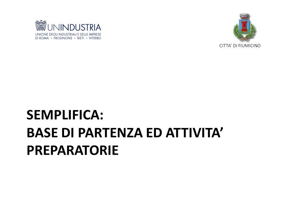 SEMPLIFICA: BASE DI PARTENZA ED ATTIVITA PREPARATORIE CITTA DI FIUMICINO