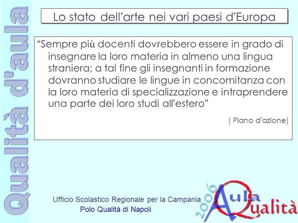 Ufficio Scolastico Regionale per la Campania Polo Qualità di Napoli Lo stato dell arte nei vari paesi d Europa Sempre pi ù docenti dovrebbero essere i