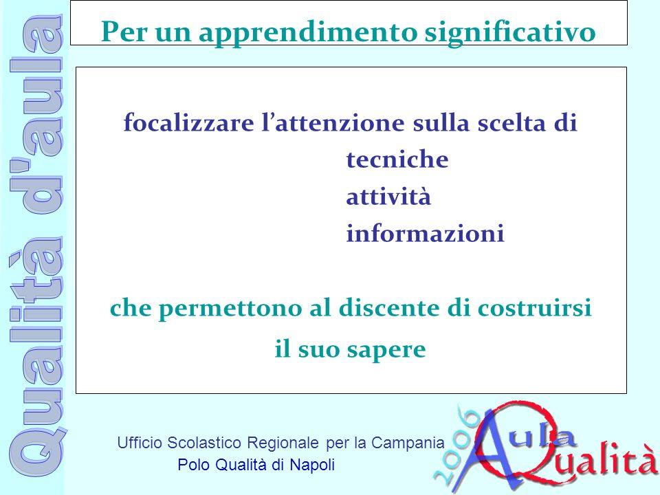 Ufficio Scolastico Regionale per la Campania Polo Qualità di Napoli Per un apprendimento significativo focalizzare lattenzione sulla scelta di tecnich