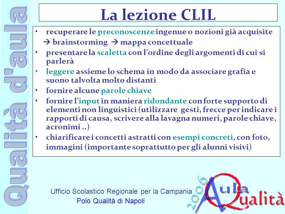 Ufficio Scolastico Regionale per la Campania Polo Qualità di Napoli La lezione CLIL recuperare le preconoscenze ingenue o nozioni già acquisite brains