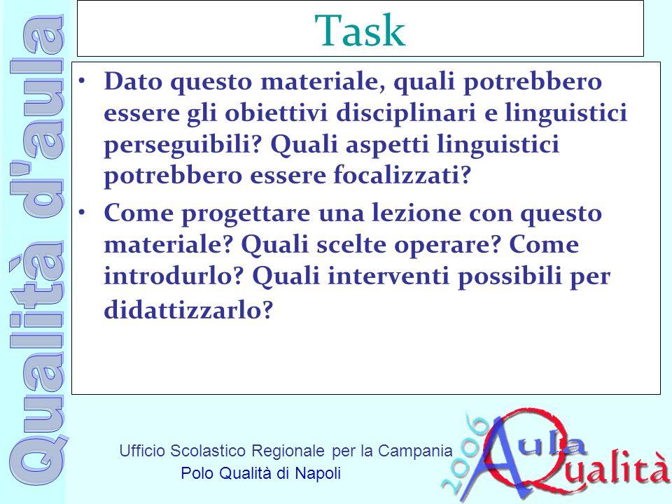 Ufficio Scolastico Regionale per la Campania Polo Qualità di Napoli Task Dato questo materiale, quali potrebbero essere gli obiettivi disciplinari e l