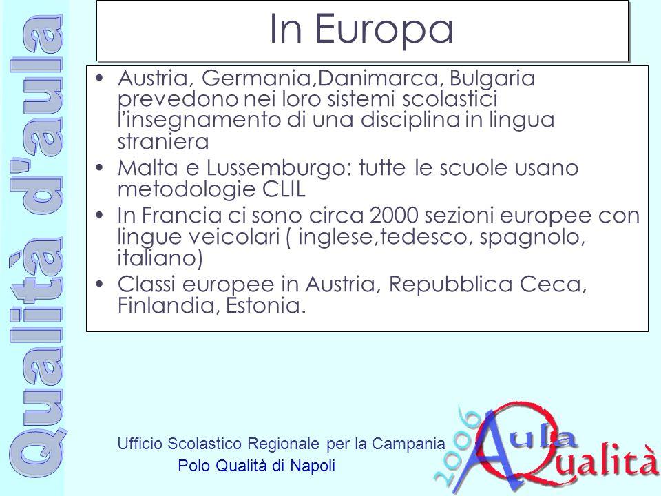Ufficio Scolastico Regionale per la Campania Polo Qualità di Napoli In Europa Austria, Germania,Danimarca, Bulgaria prevedono nei loro sistemi scolast