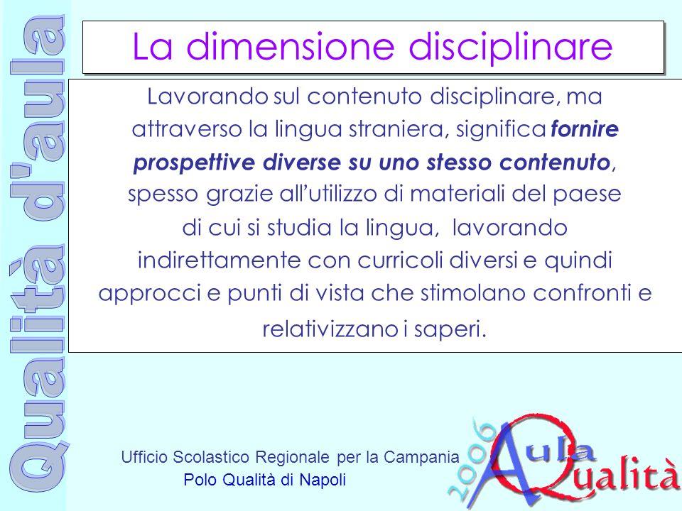 Ufficio Scolastico Regionale per la Campania Polo Qualità di Napoli La dimensione disciplinare Lavorando sul contenuto disciplinare, ma attraverso la