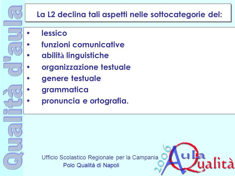 Ufficio Scolastico Regionale per la Campania Polo Qualità di Napoli La L2 declina tali aspetti nelle sottocategorie del: lessico funzioni comunicative