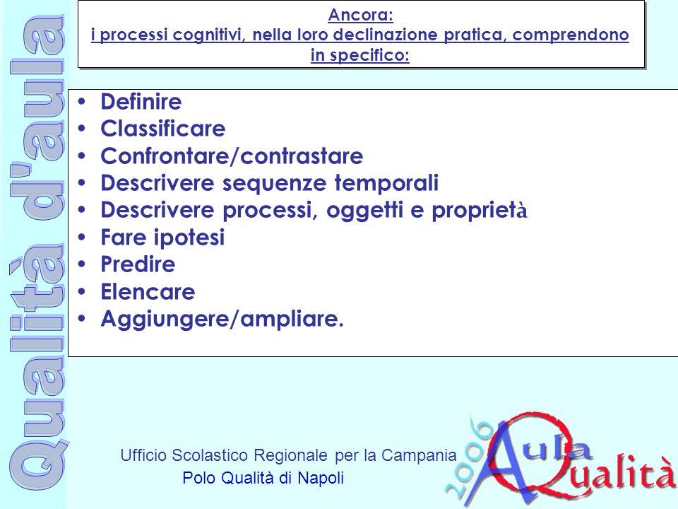 Ufficio Scolastico Regionale per la Campania Polo Qualità di Napoli Ancora: i processi cognitivi, nella loro declinazione pratica, comprendono in spec