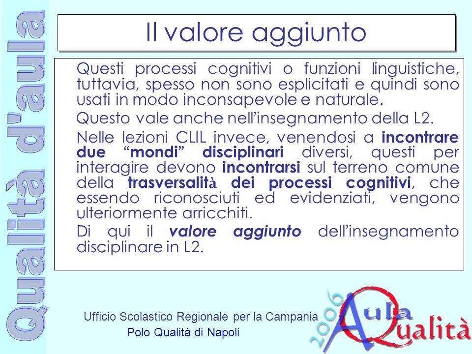 Ufficio Scolastico Regionale per la Campania Polo Qualità di Napoli Il valore aggiunto Questi processi cognitivi o funzioni linguistiche, tuttavia, sp