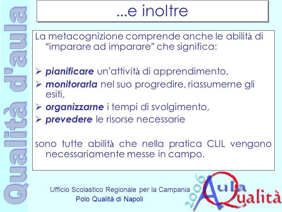 Ufficio Scolastico Regionale per la Campania Polo Qualità di Napoli … e inoltre La metacognizione comprende anche le abilit à di imparare ad imparare