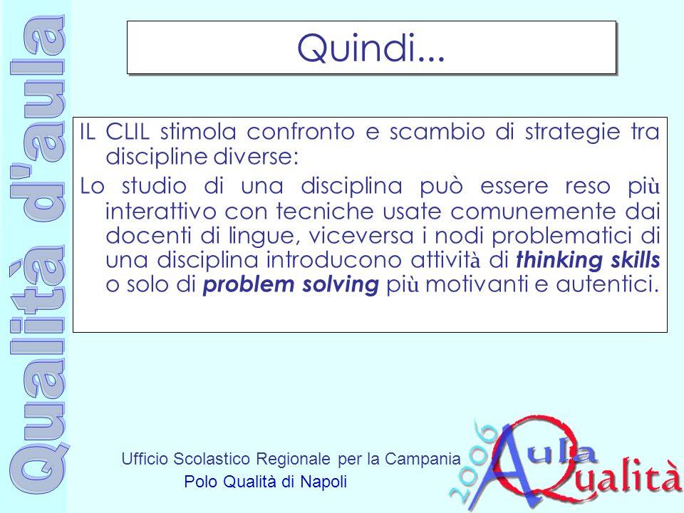 Ufficio Scolastico Regionale per la Campania Polo Qualità di Napoli Quindi... IL CLIL stimola confronto e scambio di strategie tra discipline diverse: