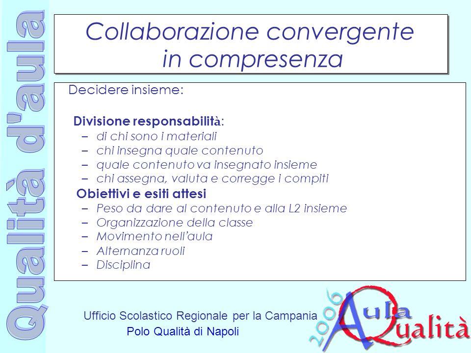 Ufficio Scolastico Regionale per la Campania Polo Qualità di Napoli Collaborazione convergente in compresenza Decidere insieme: Divisione responsabili