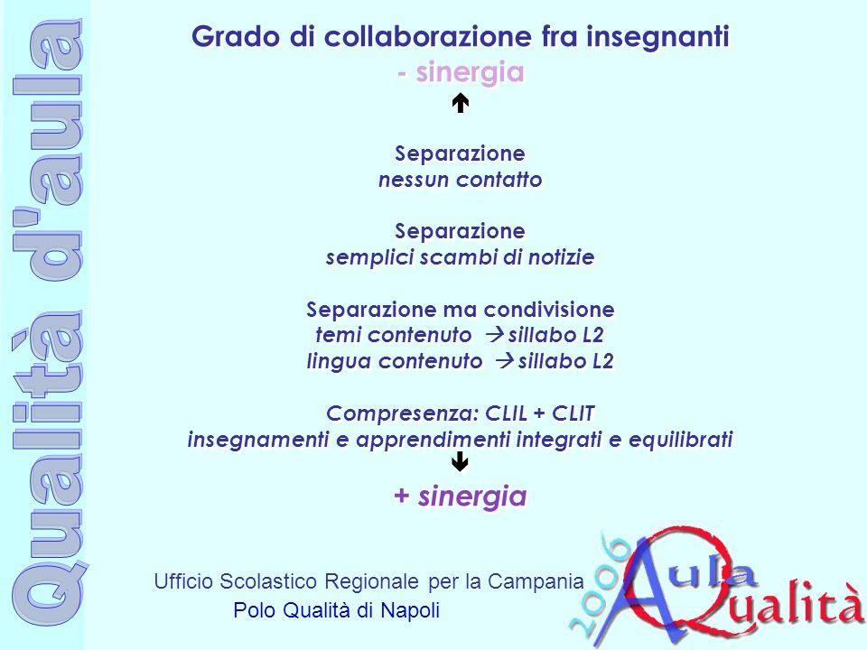 Ufficio Scolastico Regionale per la Campania Polo Qualità di Napoli Grado di collaborazione fra insegnanti - sinergia Separazione nessun contatto Sepa