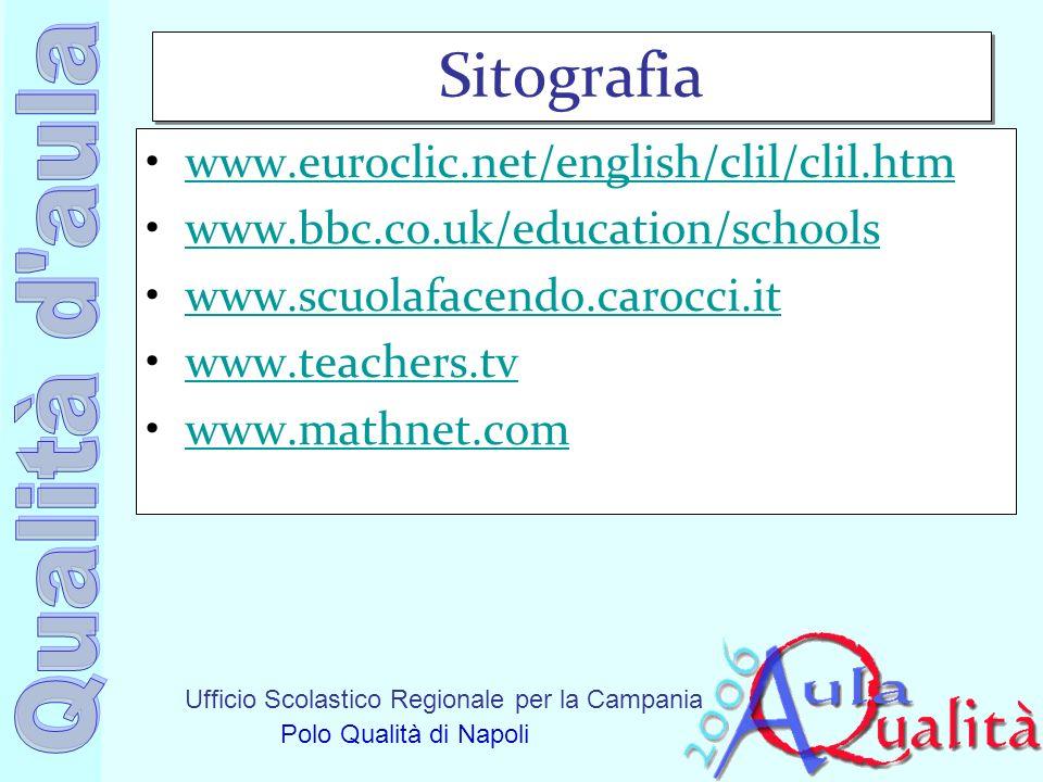 Ufficio Scolastico Regionale per la Campania Polo Qualità di Napoli Sitografia www.euroclic.net/english/clil/clil.htm www.bbc.co.uk/education/schools