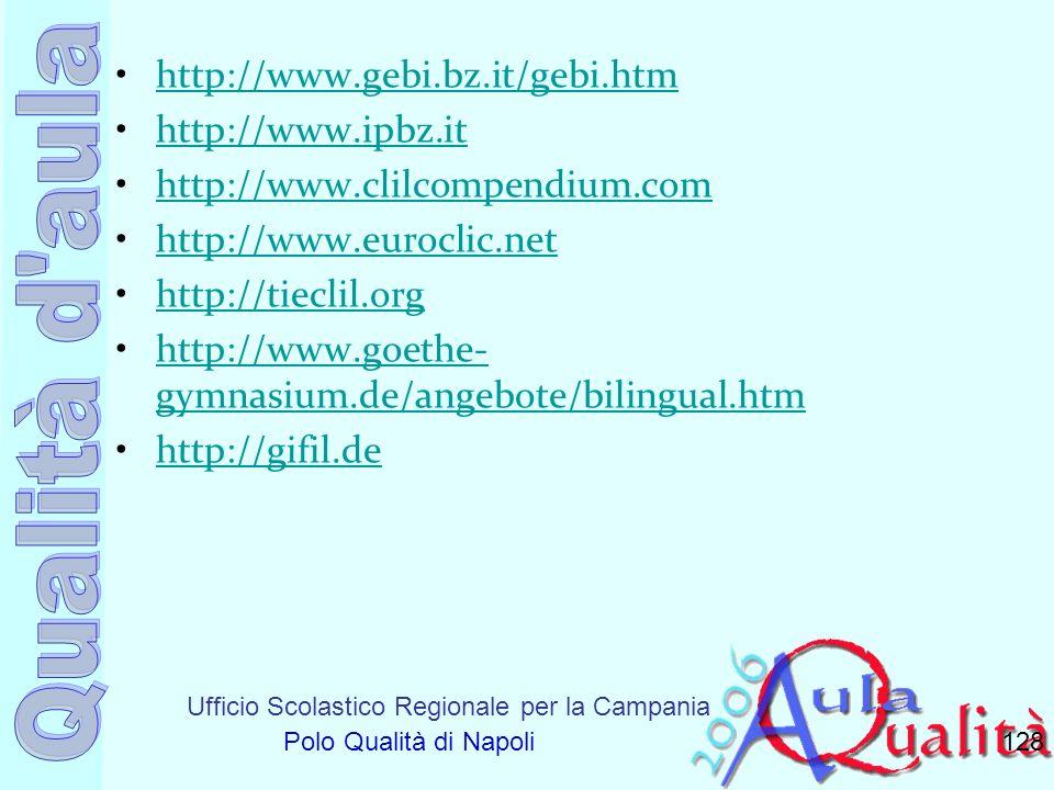 Ufficio Scolastico Regionale per la Campania Polo Qualità di Napoli http://www.gebi.bz.it/gebi.htm http://www.ipbz.it http://www.clilcompendium.com ht