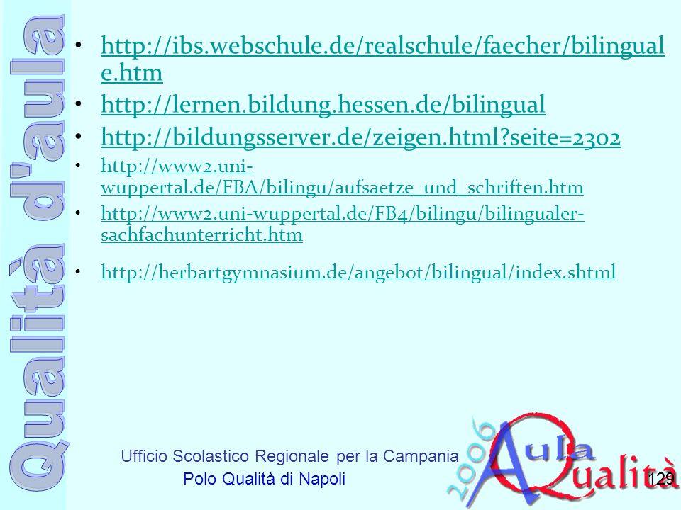 Ufficio Scolastico Regionale per la Campania Polo Qualità di Napoli http://ibs.webschule.de/realschule/faecher/bilingual e.htmhttp://ibs.webschule.de/