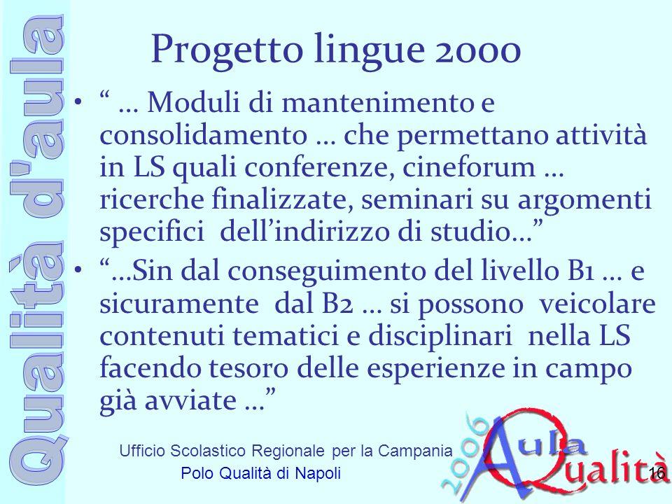 Ufficio Scolastico Regionale per la Campania Polo Qualità di Napoli Progetto lingue 2000 … Moduli di mantenimento e consolidamento … che permettano at