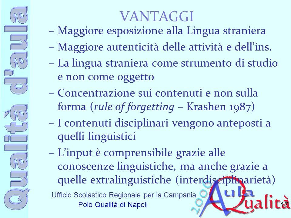Ufficio Scolastico Regionale per la Campania Polo Qualità di Napoli VANTAGGI –Maggiore esposizione alla Lingua straniera –Maggiore autenticità delle a