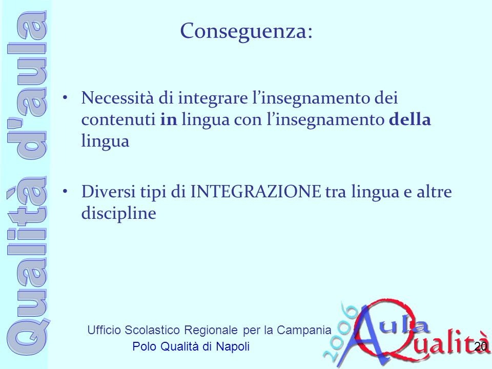 Ufficio Scolastico Regionale per la Campania Polo Qualità di Napoli Conseguenza: Necessità di integrare linsegnamento dei contenuti in lingua con lins