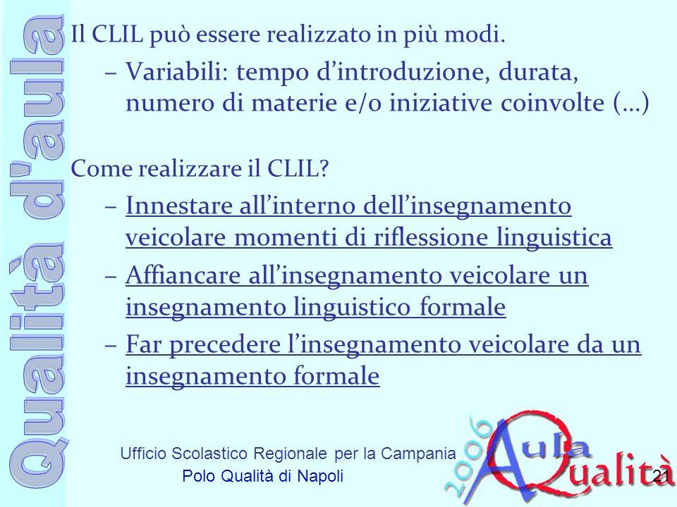Ufficio Scolastico Regionale per la Campania Polo Qualità di Napoli Il CLIL può essere realizzato in più modi. –Variabili: tempo dintroduzione, durata