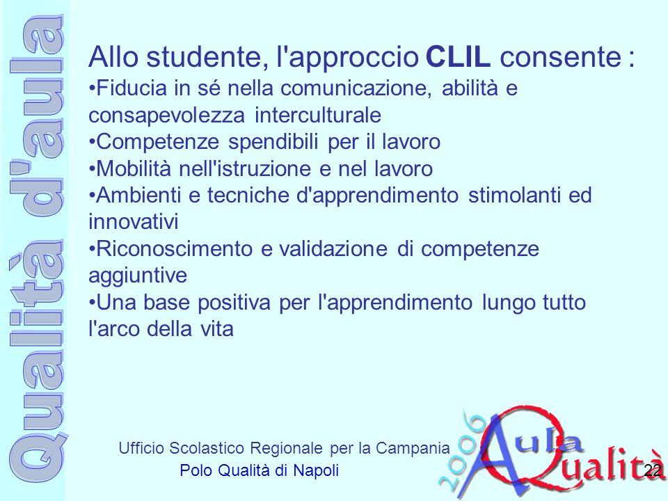 Ufficio Scolastico Regionale per la Campania Polo Qualità di Napoli 22 Allo studente, l'approccio CLIL consente : Fiducia in sé nella comunicazione, a