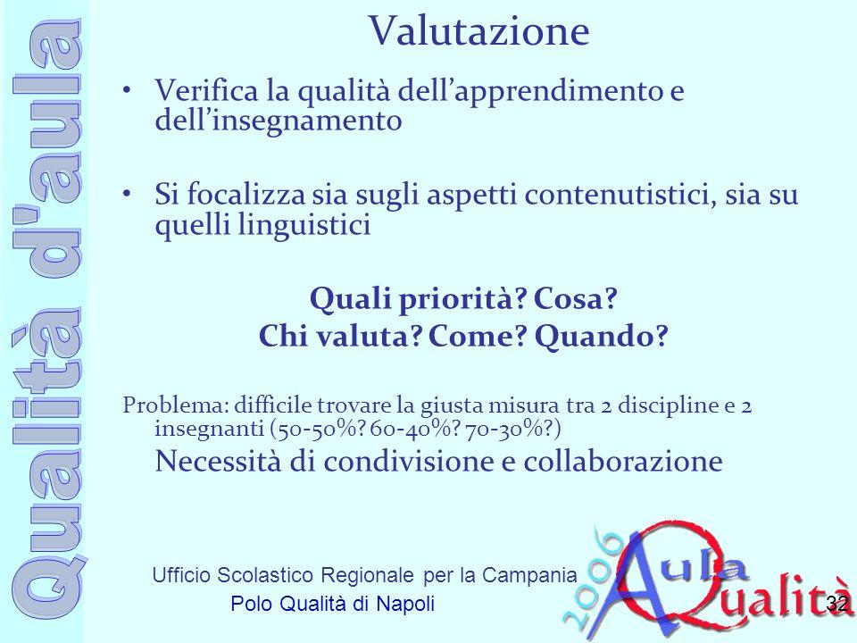 Ufficio Scolastico Regionale per la Campania Polo Qualità di Napoli Valutazione Verifica la qualità dellapprendimento e dellinsegnamento Si focalizza