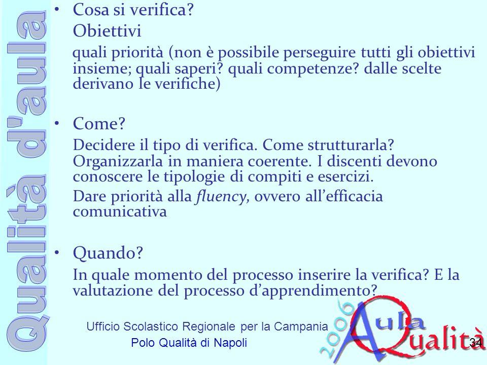 Ufficio Scolastico Regionale per la Campania Polo Qualità di Napoli Cosa si verifica? Obiettivi quali priorità (non è possibile perseguire tutti gli o