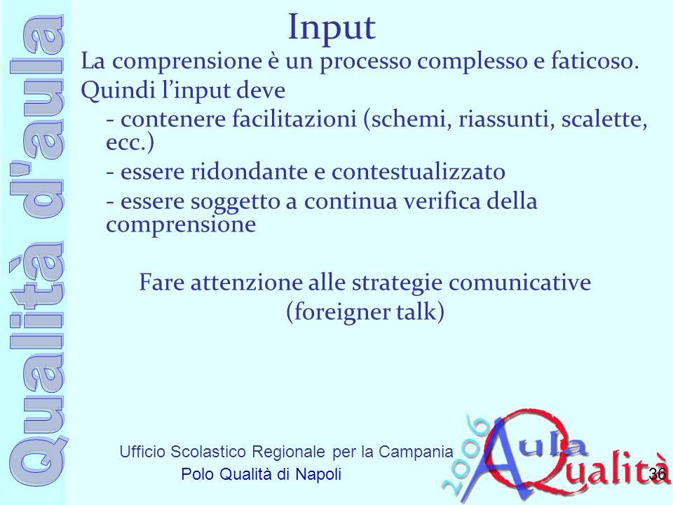 Ufficio Scolastico Regionale per la Campania Polo Qualità di Napoli Input La comprensione è un processo complesso e faticoso. Quindi linput deve - con
