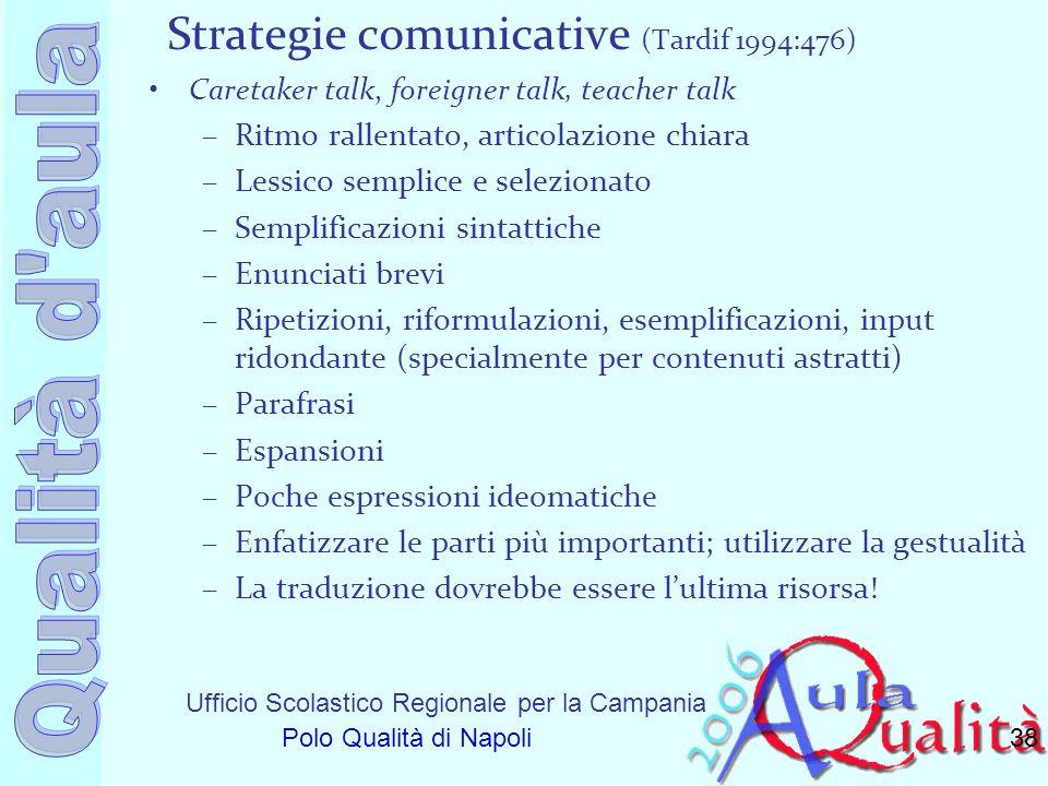 Ufficio Scolastico Regionale per la Campania Polo Qualità di Napoli Strategie comunicative (Tardif 1994:476) Caretaker talk, foreigner talk, teacher t