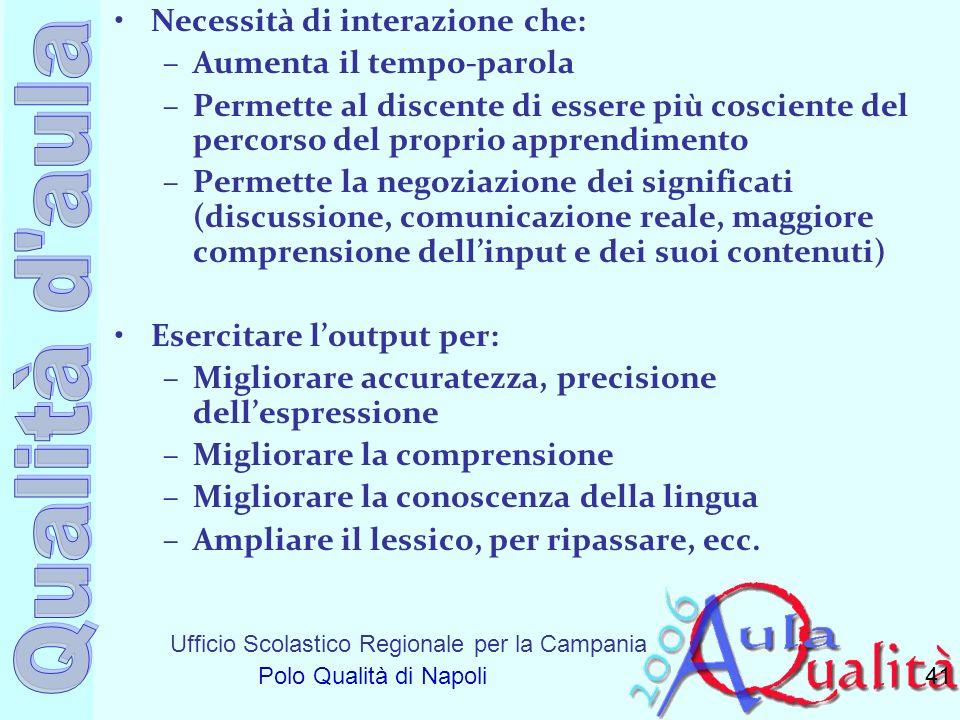 Ufficio Scolastico Regionale per la Campania Polo Qualità di Napoli Necessità di interazione che: –Aumenta il tempo-parola –Permette al discente di es
