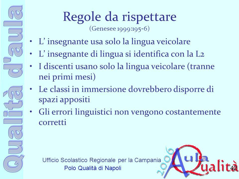 Ufficio Scolastico Regionale per la Campania Polo Qualità di Napoli Regole da rispettare (Genesee 1999:195-6) L insegnante usa solo la lingua veicolar